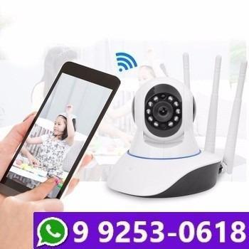 Câmera ip wifi hd c/ sensor noturno 3 antenas
