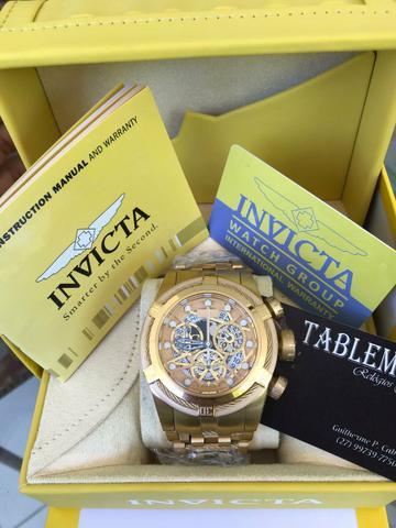 Promoção relogio invicta bolt zeus skeleton gold