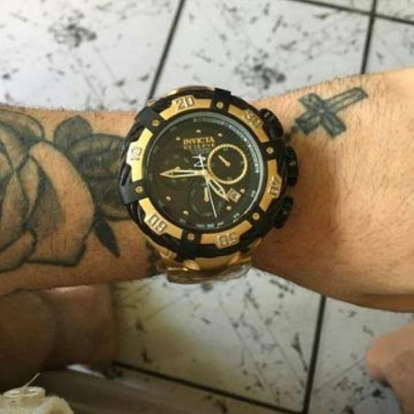 Relógio masculino invicta thunderbolt dourado/preto