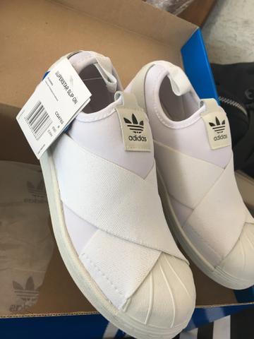 Tênis adidas super star slip on - branco - novo - veste 37