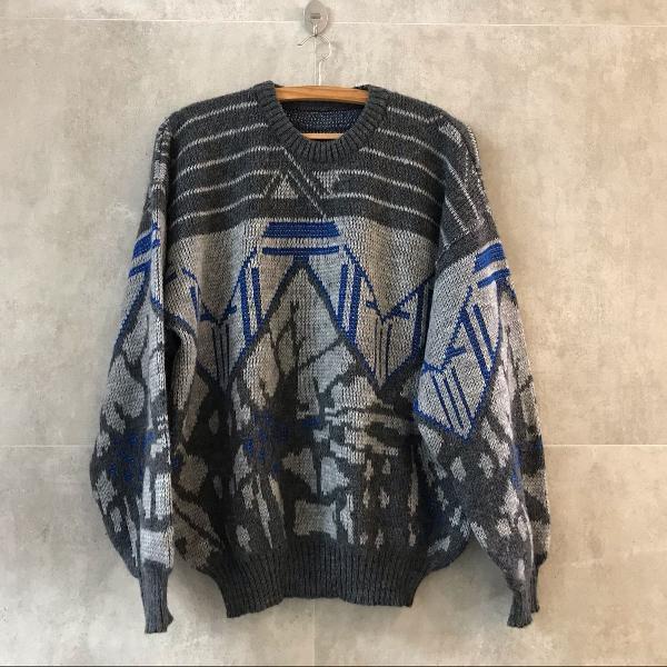 Blusão suéter argentino lã trico cinza azul abstratos