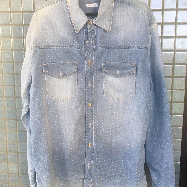 Camisa jeans manga comprida wollner masculina
