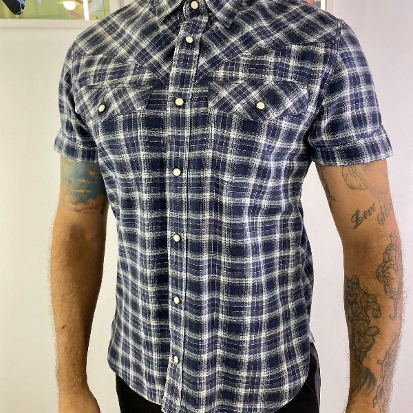 Camisa masculino levis strauss xadrez slim azul country