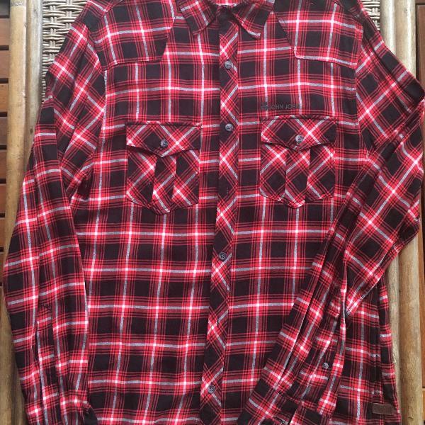 Camisa xadrez john john manga comprida