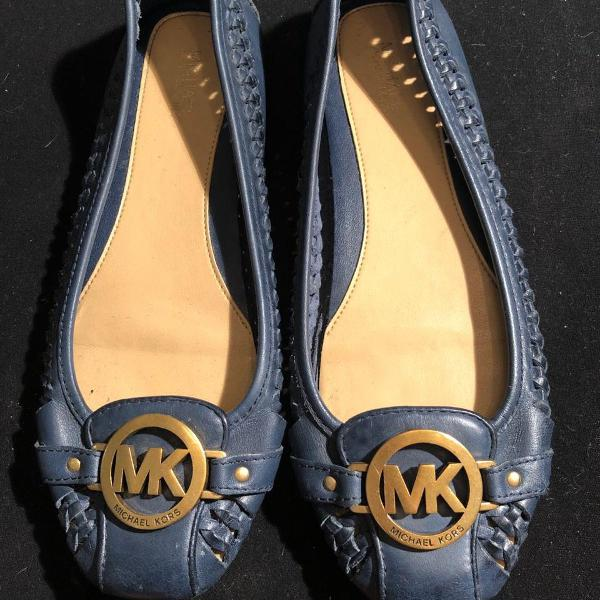 Sapatilha em couro azul marinho michael kors - 37br