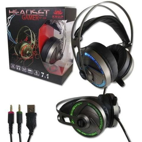 Fone headset gamer 7.1 pc knup kp434 p2 usb led microfon