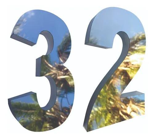 2 números residencial 20cm aço inox brilhante corte a