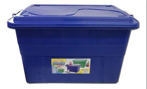 Caixa organizadora 70 litros c/ travas azul agraplast