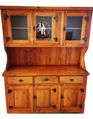 Conjunto armário e mesa madeira maciça