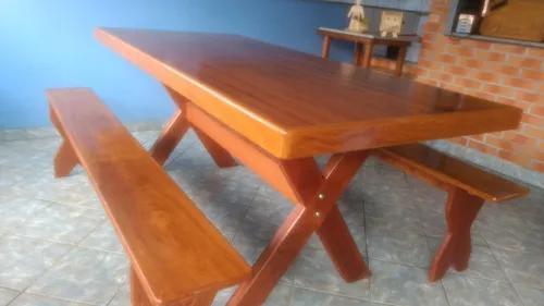 Conjunto madeira mesa de churrasco