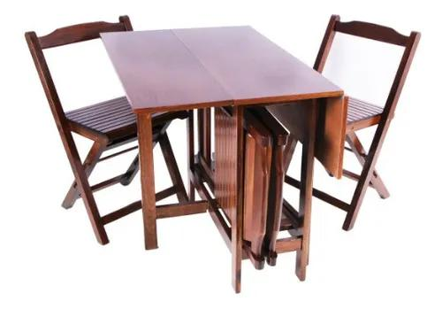 Conjunto mesa quadrada dobrável prática 4 cadeiras scholl