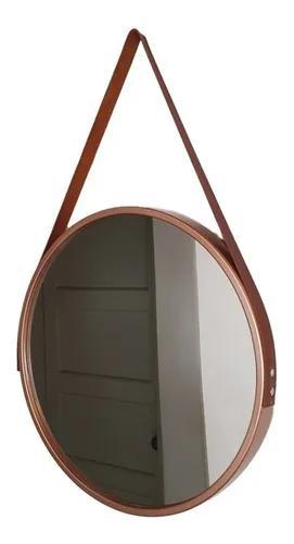 Espelho adnet redondo com alça 45 cm rose