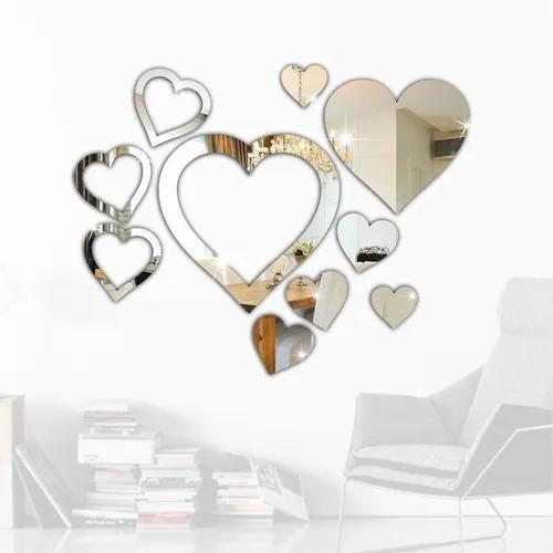 Espelho decorativo coração kit quarto sala hall