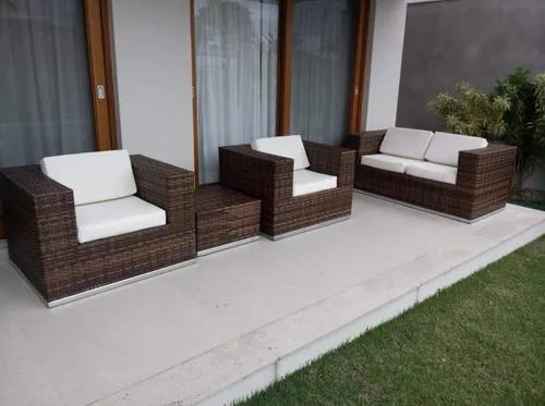Jardim e exteriores jogo sofá e poltronas alumínio e fibra