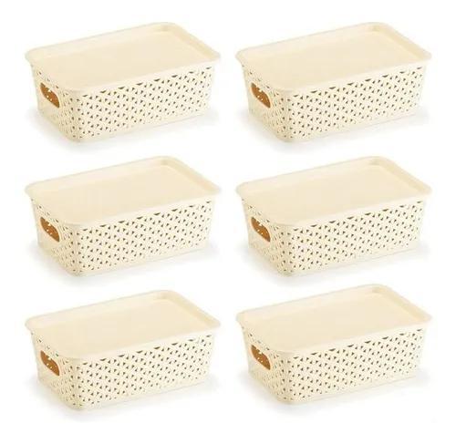 Kit 6 caixas organizadoras rattan 3 litros com tampa