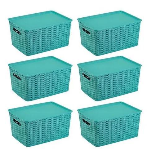Kit 6 caixas organizadoras rattan com tampa lisa 15 litros