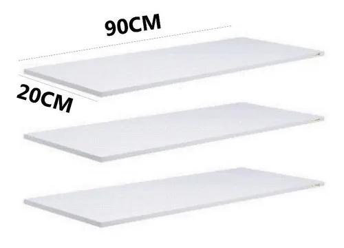 Kit 6 prateleiras 90x20 branca mdf 15mm suporte grátis
