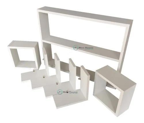 Kit 7 peças nicho branco mdf decoração envio montado