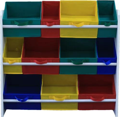 Organizador de brinquedos montessoriano colorido estante