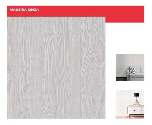 Papel adesivo contact de parede 10m x 45cm madeira cinza...
