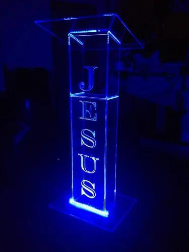 Púlpito de acrílico gravação led 16 cores