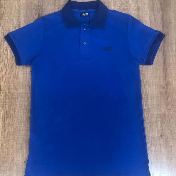 Armani polo masculina lisa azul bic com logo