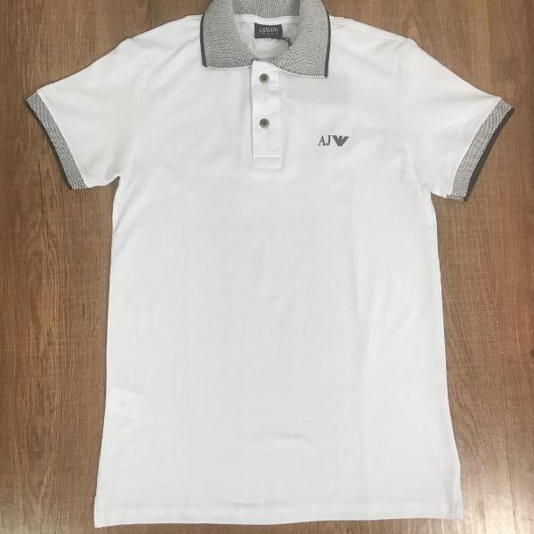 Armani polo masculina lisa branco com logo