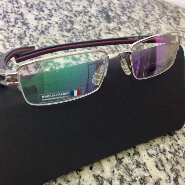 armação de óculos de grau tag th7646 preta e vermelha