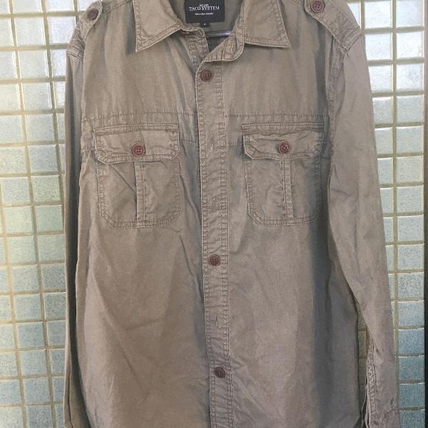 Camisa manga comprida estilo militar taco masculina