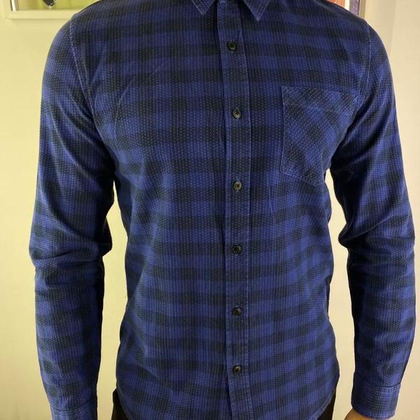 Camisa masculina topman azul escuro xadrez slim
