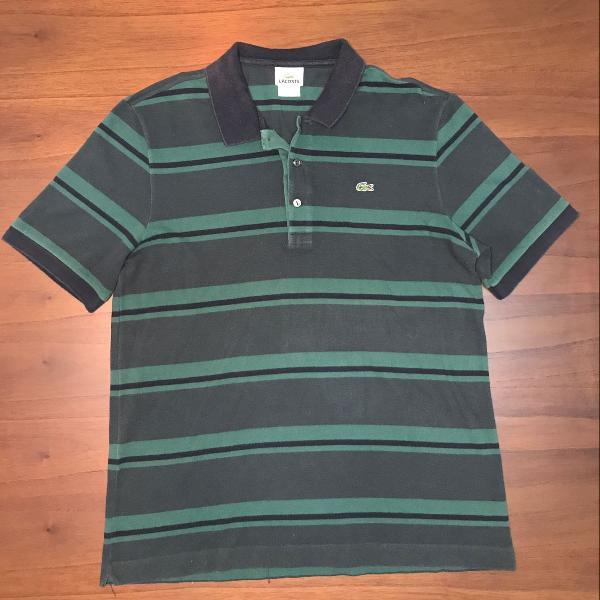 Camisa polo lacoste listrada verde