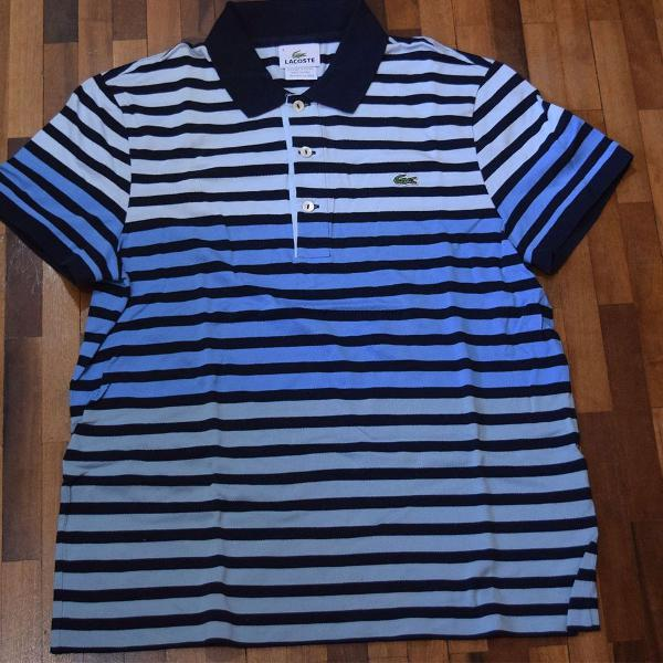Camiseta polo lacoste azul listrada
