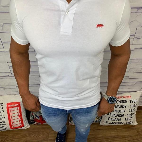 Dgraud polo masculina lisa branca com logo