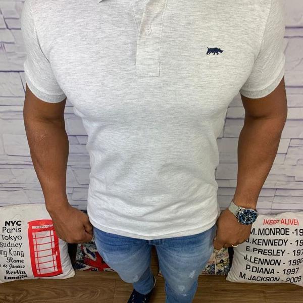 Dgraud polo masculina lisa cinza com logo