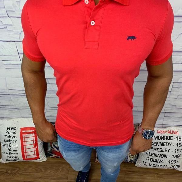 Dgraud polo masculina lisa vermelho com logo