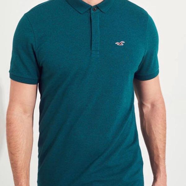 Hollister epic flex camisa polo verde com stretch tamanho p