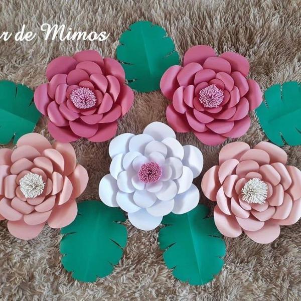 Kit flores de papel rosa