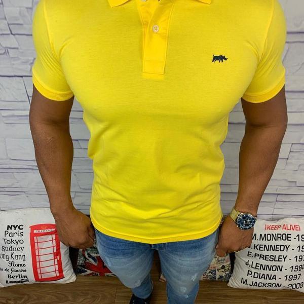 Lacoste polo masculina lisa amarelo escuro com logo