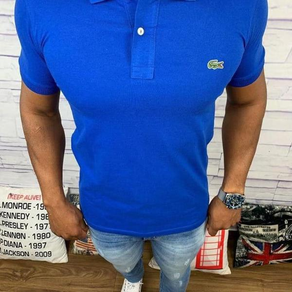 Lacoste polo masculina lisa azul bic com logo