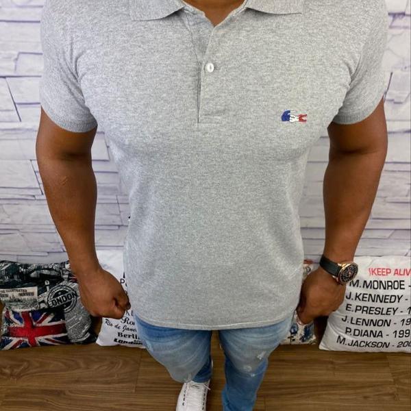 Lacoste polo masculina lisa cinza com logo