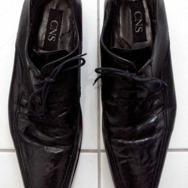 Sapato de couro masculino com solado de couro com
