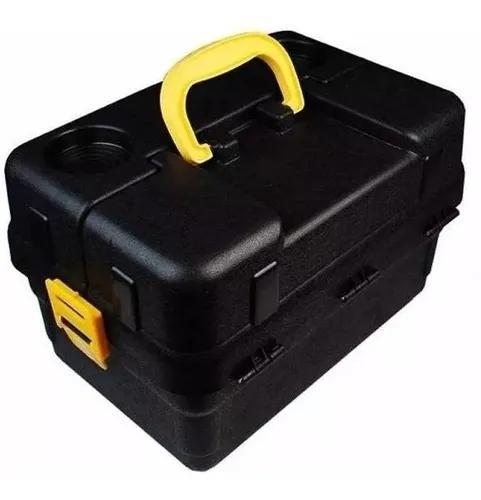 Caixa de pesca 6 bandejas hi articulada + enrolador preta