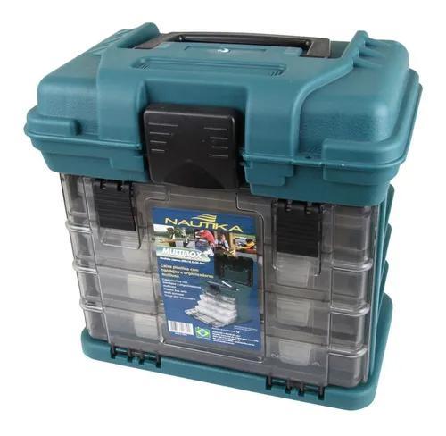 Caixa maleta para pesca nautika 4 bandejas gavetas mb1