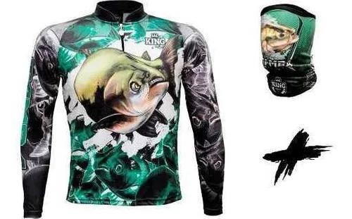 Camisa + bandana de pesca king tambaqui c/ protecao solar
