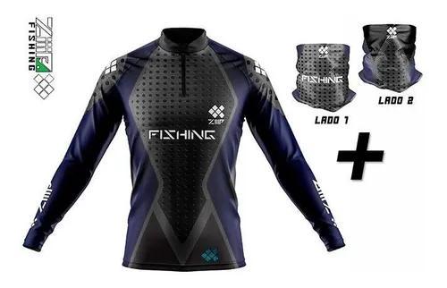 Camisa de pesca ziiip + bandana proteção solar cb019az