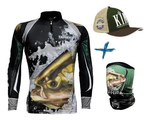 Camiseta de pesca king kff304 tamba + bandana + boné king