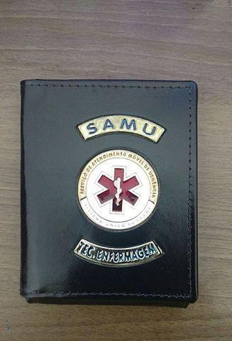 Carteira de couro para técnico enfermagem do samu