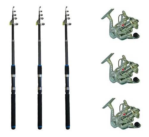 Kit 3 vara tilápia pesca leve xingu 2,10m +3 molinetes 3