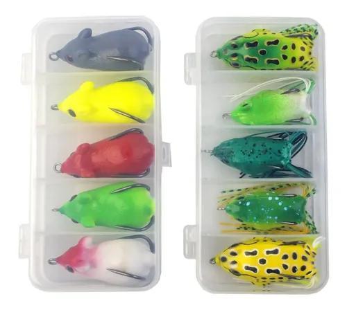Kit com 10 iscas artificiais frog e rato + 2 estojos pequeno