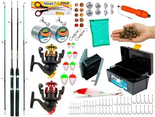 Kit pesca 2 varas 2 molinetes 1 caixa de pesca e acessórios